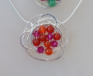 LM179 Medium Swirl Necklace, St Silver & Cornelian & Pink