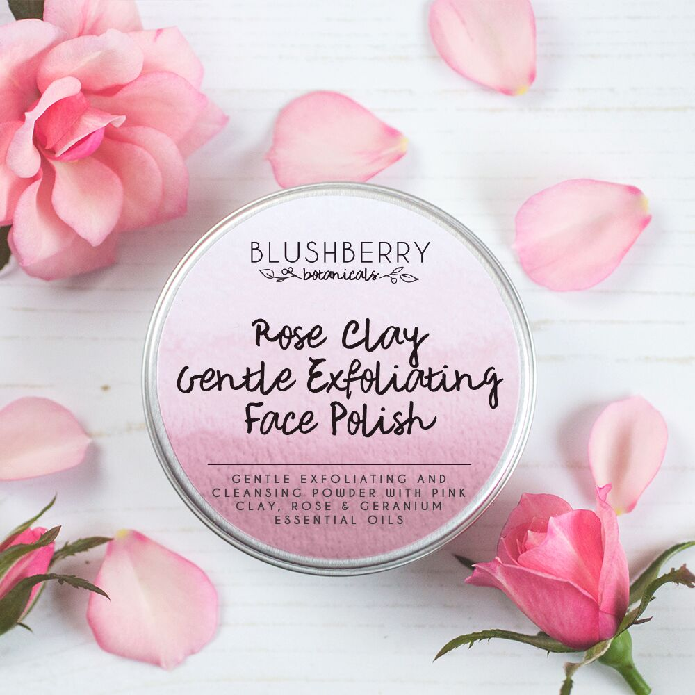 Rose Clay Gentle Exfoliating Face Polish - Made in Scotland by Blushberry Botanicals