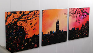 Triptych Block Mounted Print `Glasgow University Autumn Dusk`  by Andy Peutherer