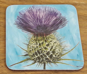 Geoff Foord Corked Backed Thistle Coaster