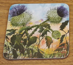 Load image into Gallery viewer, Geoff Foord Corked Backed Thistle Coaster
