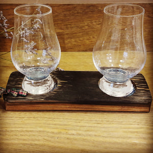 2 Glass Tasting Tray made from Upcycled Whisky Barrels