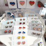 Load image into Gallery viewer, Cat Heart Studs Made in Scotland by Twiggd
