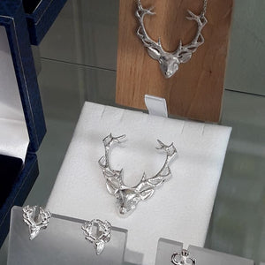 Stag Head Earrings St Silver - Handmade by Celtic Art