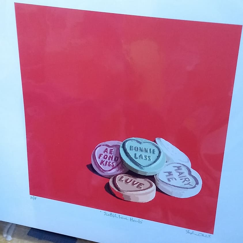 Stephen O'Neil Large Artist Proof Print `Scottish Love Hearts`
