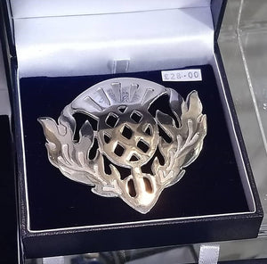 Large Thistle Brooch Made in Scotland by Pewtermill