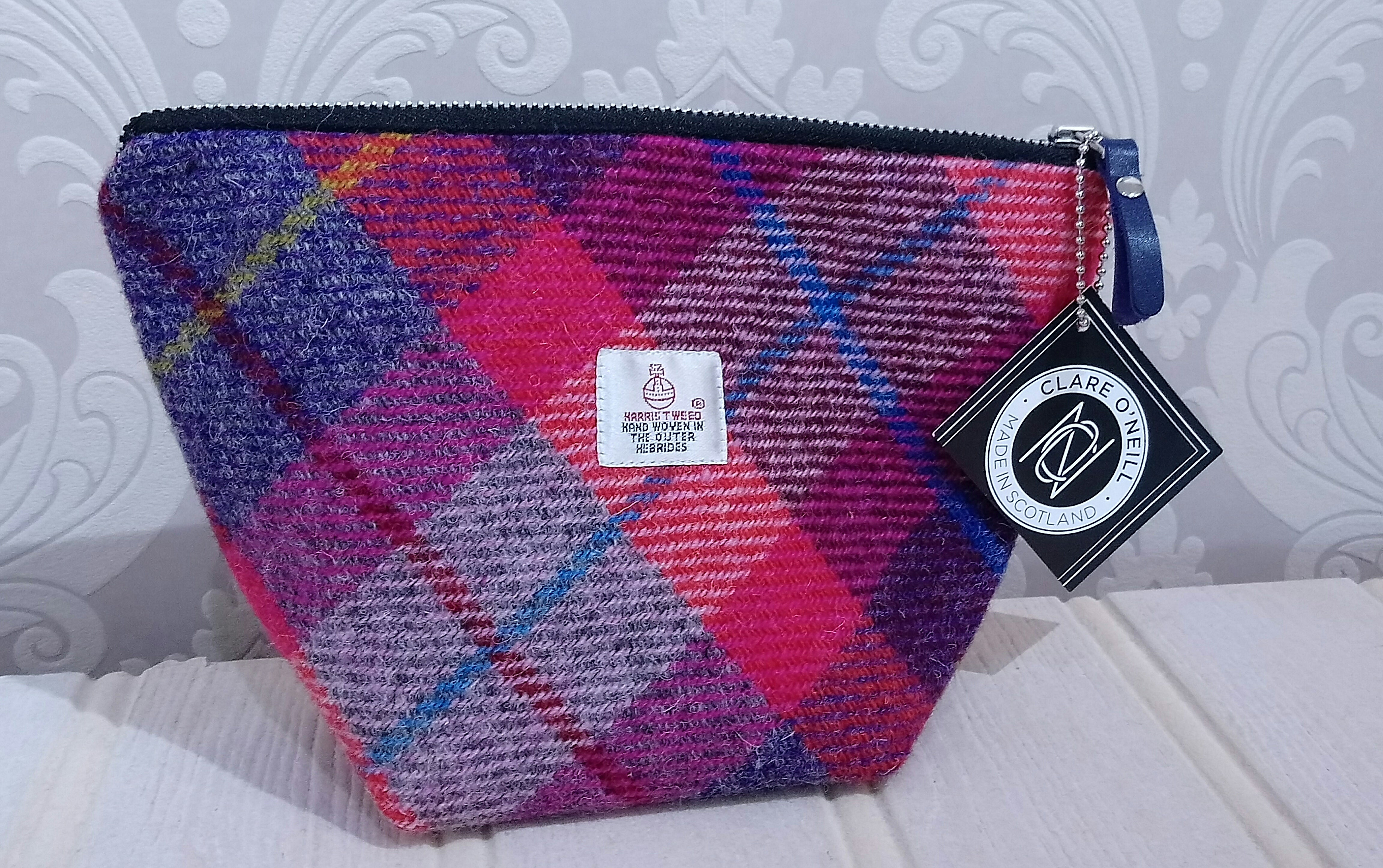 Harris Tweed Small Cosmetic Bag - Made in Scotland by Clare O`Neil Textiles