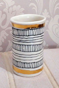 Gold Rimmed / Black & White Small Beaker Vase