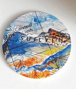 Load image into Gallery viewer, Round Hand Pressed Ceramic Landscape Coaster by Artist Julie Arbuckle