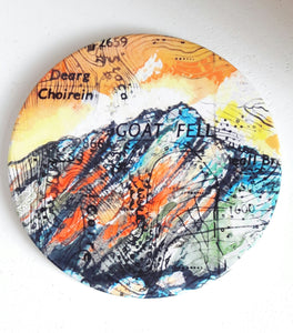 Round Hand Pressed Ceramic Landscape Coaster by Artist Julie Arbuckle