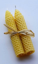 Load image into Gallery viewer, Thin Beeswax Candle Pair tied with Rafia
