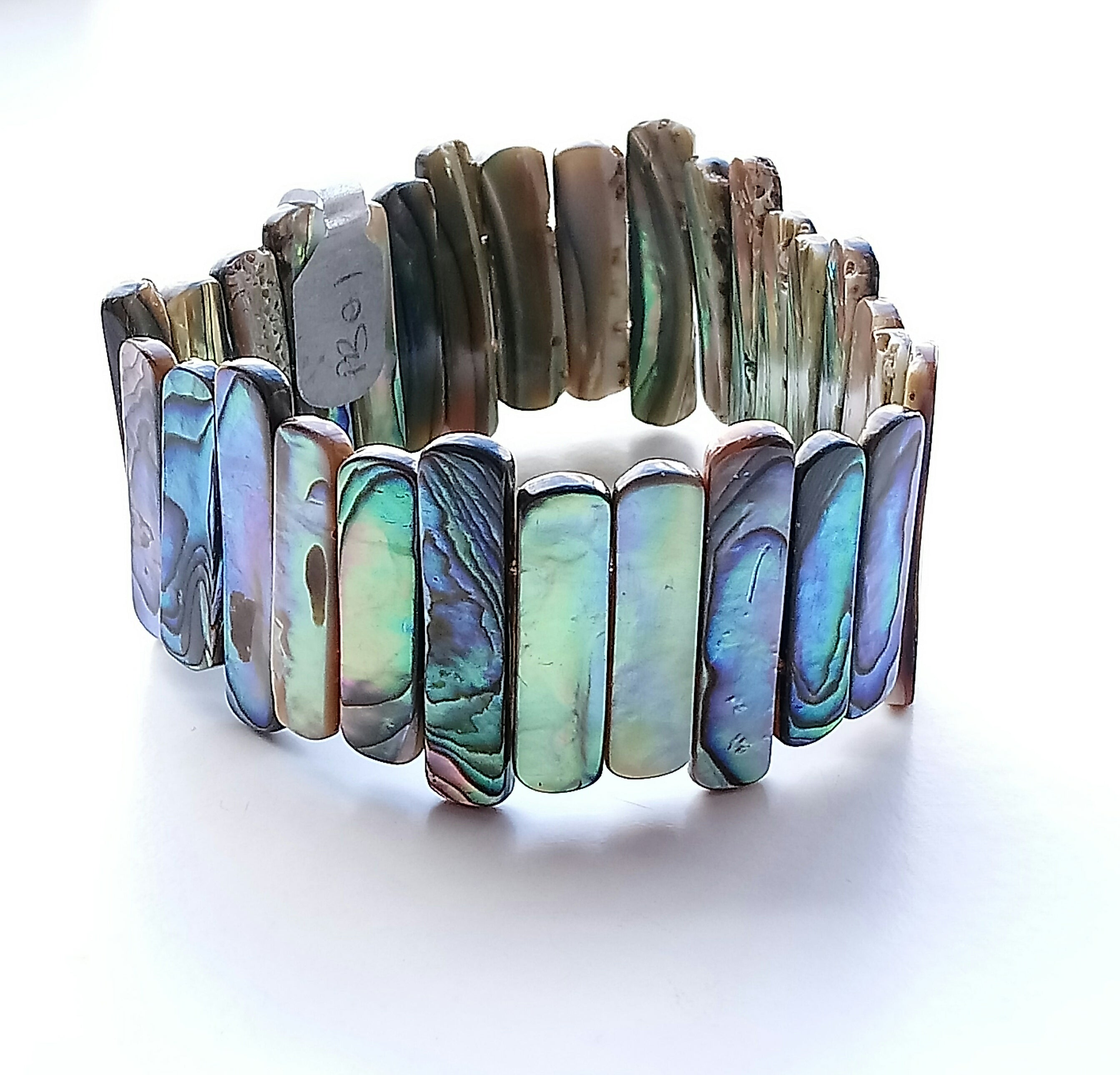 Long Strips Paua Reversible Bracelet Made by Girl Paua