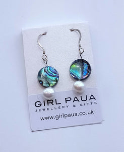 Dangle PE02-P Earrings Paua & Freshwater Pearls Made by Girl Paua