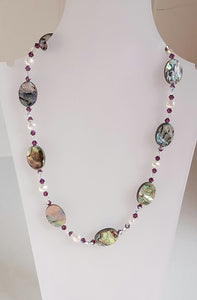 Paua, Swarovski & Pearl Necklace - PN10 (Oval, AM) Made by Girl Paua