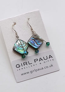Dangle Paua & Crystal PE01 Earrings Made by Girl Paua