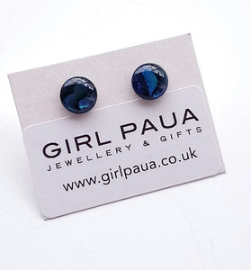 Round Paua PE04 £16 Stud Earrings Made by Girl Paua