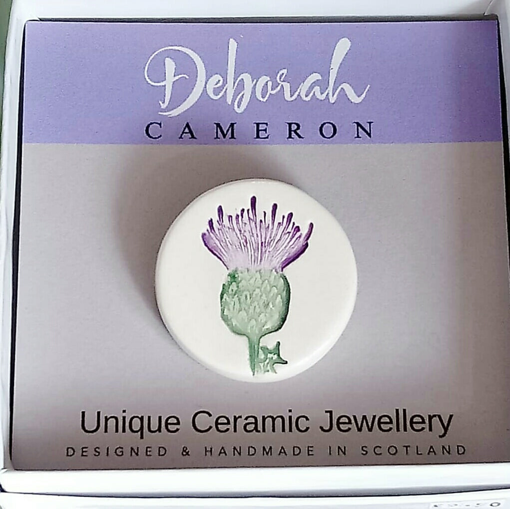 Ceramic Thistle Brooch Handmade by Deborah Cameron
