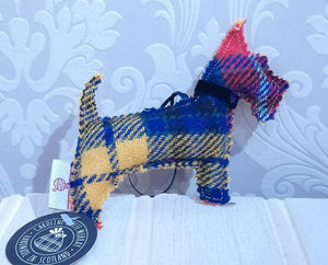 Harris Tweed Scottie Dog Decoration, Handmade in Scotland by Caroline Wolfe Murray