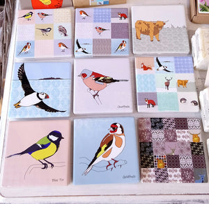 Garden Birds Ceramic Coaster Collection by Dibujo Designs