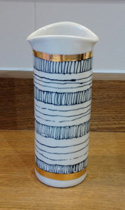 Gold Rimmed / Black & White Small Cylinder Vase Made in Scotland by Margaret MacDonald
