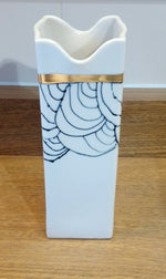 Load image into Gallery viewer, Gold Rimmed / Black & White SQ Vase Made in Scotland by Margaret MacDonald
