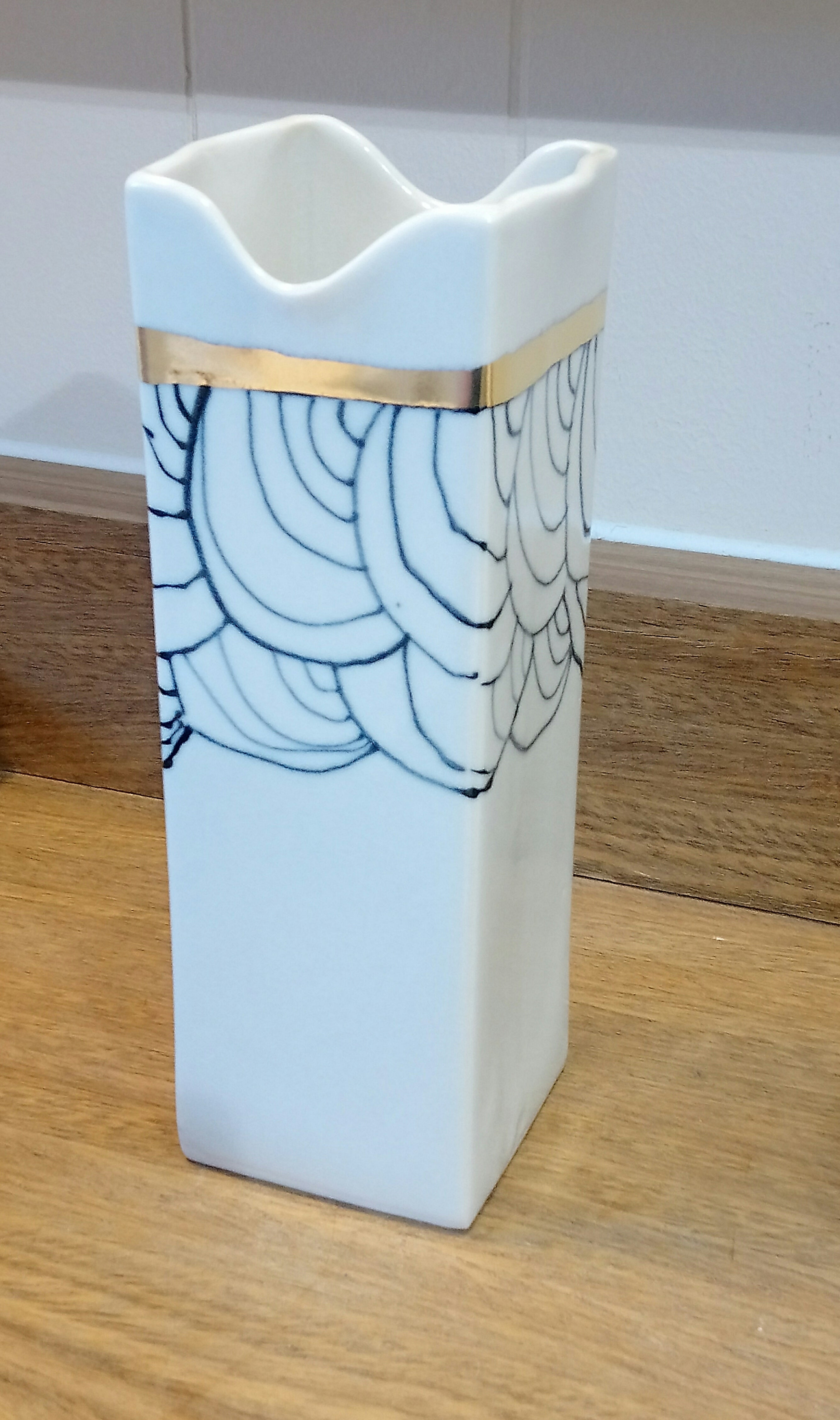 Gold Rimmed / Black & White SQ Vase Made in Scotland by Margaret MacDonald