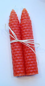 Thin Beeswax Candle Pair tied with Rafia