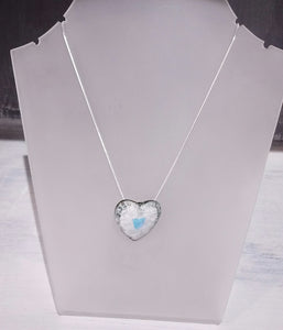 Small Heart Ceramic Pendant on St Silver Chain - Margaret MacDonald