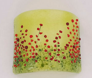 Red Meadow Glass Candle Curve made by Gill Chesnutt