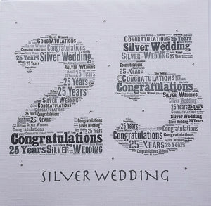 Silver Wedding Anniversary Card by Word Art