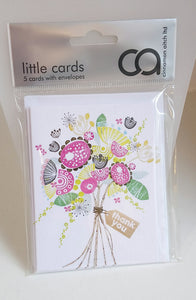 Pack of 5 Little Cards - Thank you (Bunch of Flowers) LT86 by Cinnamon Aitch