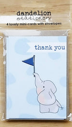 Load image into Gallery viewer, Set of 4 Mini Cards - Thank You Elephant by Dandelion Stationery