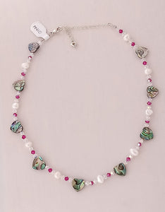 Paua, Swarovski & Pearl Necklace - PN10 (Heart, FU) Made by Girl Paua