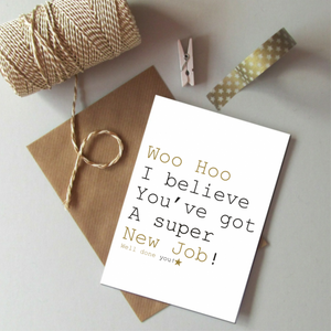 New Job Always Sparkle - Just Words Card