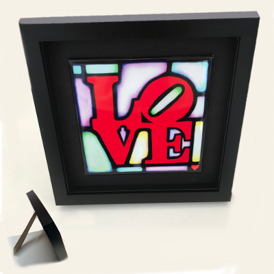 Framed Ceramic 'LOVE' Tile by artist Jim Dinnen