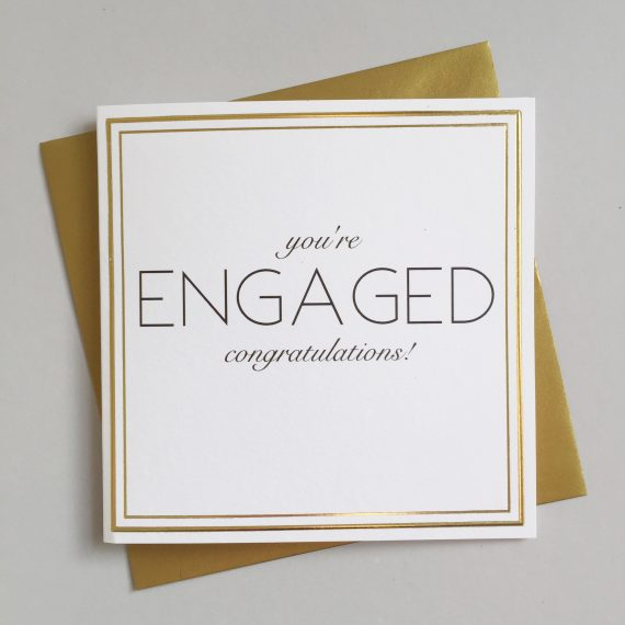 Engaged Always Sparkle - Luxe SQ Gold Rimmed Card