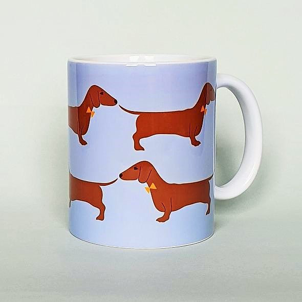 Red Dachshund Earthenware Mug by Blue Ranchu Designs
