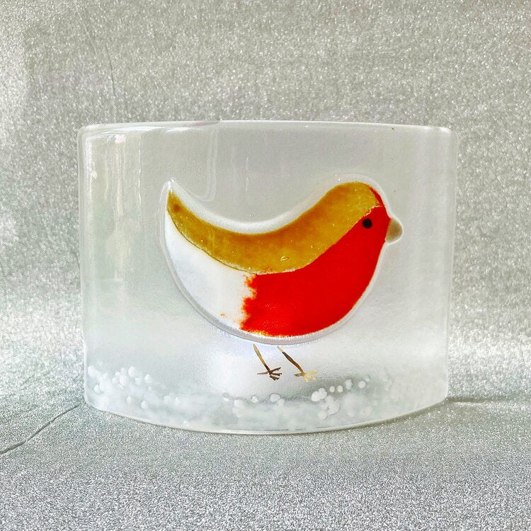 Robin Glass Candle Curve Handmade by Gill Chesnutt Artisan Glass