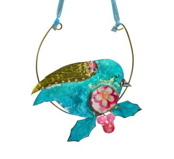 Hanging Robin Ornament Handmade Beastie Assemblage