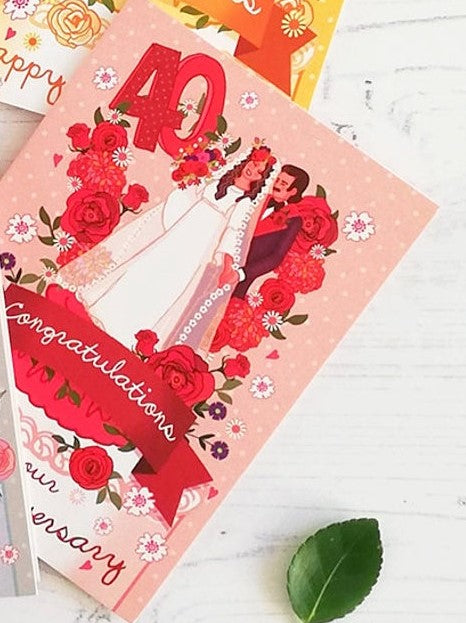 Ruby Wedding Anniversary Card by Angie Spurgeon