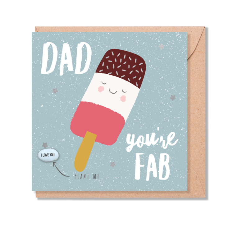 'Dad You're Fab' Magic Bean Card by Lucy & Lolly
