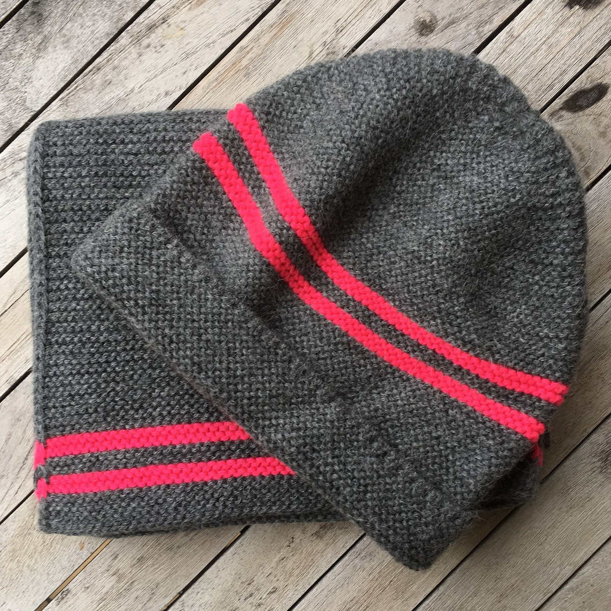 Alpaca Preppy Hat / Neon Stripe by Scottish Knitwear Designer Samantha Holmes
