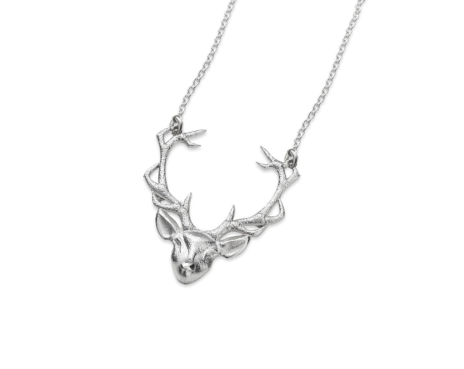 Stag Head Pendant, St Silver - Handmade in Scotland by Celtic Art