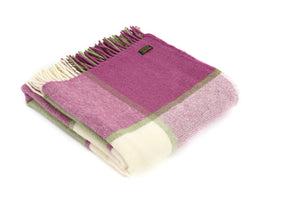 Block Check Raspberry Knee Blanket - Pure New Wool Made in the UK by Tweedmill