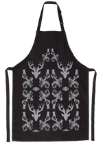 Load image into Gallery viewer, Stag Damask Apron Black