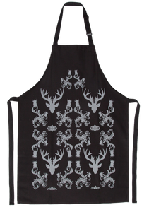 Stag Damask Apron Black