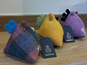 Harris Tweed Chicken Doorstop Handmade by Caroline Wolfe Murray