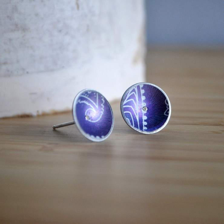 Aluminium & Silver Dome Stud Earrings