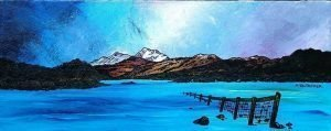 Canvas Print unframed `First Snow on Ben Lomond from Gartocharn, Loch Lomond` by Andy Peutherer