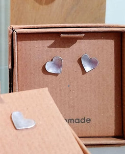 Silver Heart Studs - Made in Scotland by MiloMade